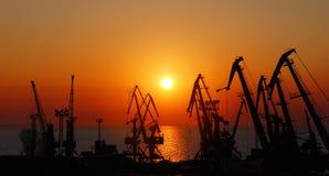 Lever de soleil dans le port Photographie stock libre de droits