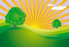 Lever de soleil dans le pré (X5_e3) Photographie stock libre de droits