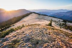 Lever de soleil dans les montagnes Photo libre de droits