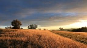 Lever de soleil dans les montagnes, forêt, ciel bleu 3 image libre de droits