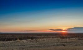 Lever de soleil dans les steppes Photo libre de droits