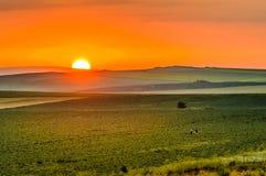 Lever de soleil dans Yambol, Bulgarie photographie stock libre de droits