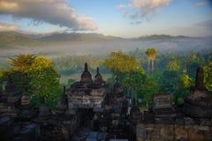 Lever de soleil de Borobudur, Java, Indonésie Images libres de droits