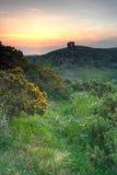 Lever de soleil de château de Corfe Photographie stock libre de droits