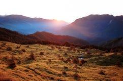 Lever de soleil de champ d'herbe photos stock