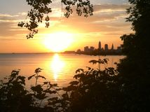 Lever de soleil de Cleveland Images stock