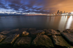 Lever de soleil de couleur deux Chicago Photos stock