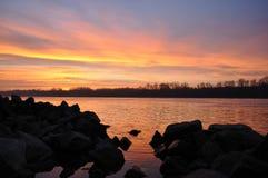 Lever de soleil de Danube photo libre de droits