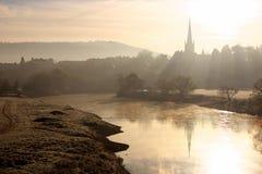 Lever de soleil de fleuve Image libre de droits
