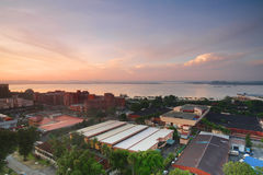Lever de soleil de frontière de la Malaisie et du Singapour Images stock