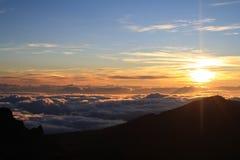 Lever de soleil de Halekala Photos stock