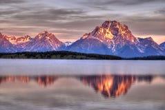 Lever de soleil de Jackson de lac Images stock