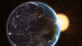 Lever de soleil de l'Amérique du Nord de la terre d'usine de l'espace Image stock