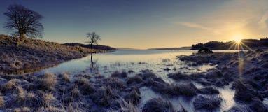 Lever de soleil de l'eau de Kielder photos stock