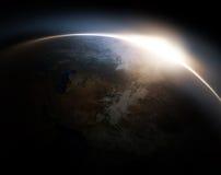 Lever de soleil de l'espace Photographie stock libre de droits