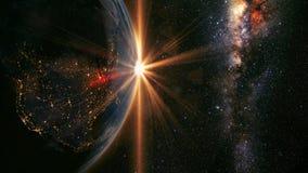 Lever de soleil de la terre Images libres de droits