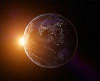 Lever de soleil de la terre de planète Photo stock