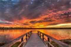 Lever de soleil de lac Bibra Photos stock