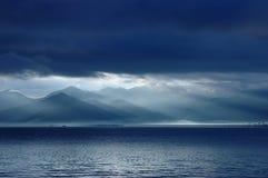 Lever de soleil de lugu de lac Photo libre de droits