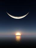 Lever de soleil de lune de sourire Photos libres de droits