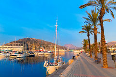 Lever de soleil de marina de port de Carthagène Murcie en Espagne Image stock