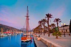 Lever de soleil de marina de port de Carthagène Murcie en Espagne Photos libres de droits