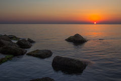 Lever de soleil de mer Photos stock