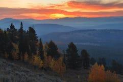 Lever de soleil de montagne de signal, le Tetons photographie stock libre de droits