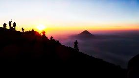 Lever de soleil de montagne du Guatemala Photos stock
