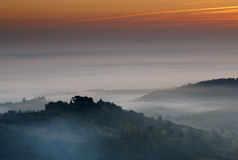 Lever de soleil de Montepulciano, Italie Photos libres de droits