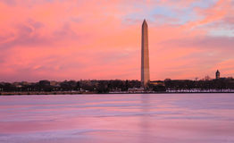 Lever de soleil de monument de Washington DC Image stock