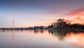 Lever de soleil de monuments de Washington DC Photographie stock libre de droits