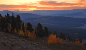 Lever de soleil de Mounain de signal - le Tetons photographie stock libre de droits