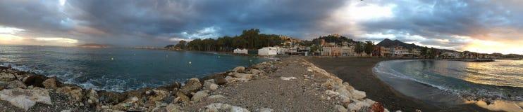 Lever de soleil de panorama chez Pedregalego, Malage, Espagne Images stock