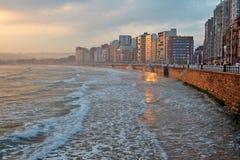 Lever de soleil de paysage marin Image stock