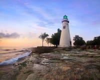 Lever de soleil de phare de Marblehead Photographie stock libre de droits