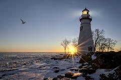 Lever de soleil de phare de Marblehead Photo stock