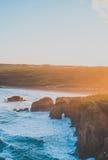 Lever de soleil de plage de Perranporth photographie stock
