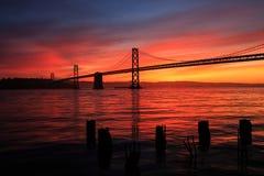 Lever de soleil de pont de baie Photos libres de droits