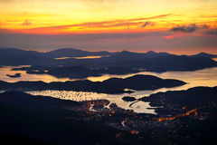 Lever de soleil de Sai Kung, Hong Kong Images stock