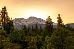 Lever de soleil de Shasta de bâti Photographie stock libre de droits