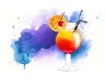 Lever de soleil de tequila de cocktail d'aquarelle sur le fond bleu d'aquarelle Photos stock