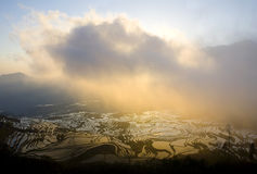 Lever de soleil de terrasse Images libres de droits