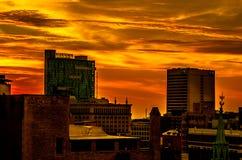 Lever de soleil de ville de Detroit photographie stock