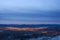 Lever de soleil de ville de Reno Photos stock