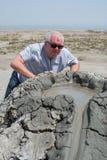 Lever de soleil de volcans de boue photographie stock