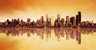 Lever de soleil de vue de ville Photographie stock