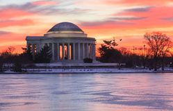 Lever de soleil de Washington DC au-dessus de Jefferson Memorial Photo libre de droits