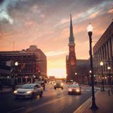 Lever de soleil du centre d'Harrisburg Photographie stock