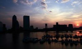 Lever de soleil du centre de Jacksonville Images libres de droits